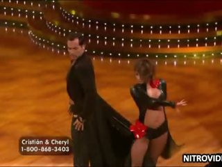Boner-Inducing Babe Cheryl Burke Dancing Nearby a Acquisitive Leather Attire