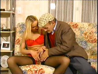Cute youthfull blonde gets with this older guy and deepthroats his cock