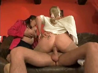 Two curvy office girls get him off