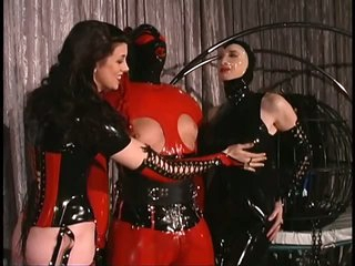 Submissive Big Guy Acquires His Balls coupled with Nipples Tortured In a Latex Suit