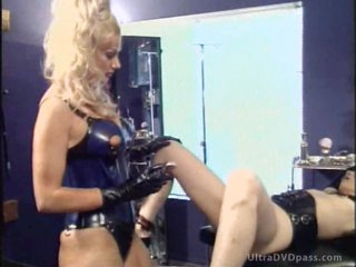 Busty Blonde Dominatrix Shaves and Tortures Her Sex Slave's Pussy
