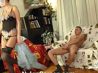 Luring honey in luxury patterned skivvies and nylons bouncing unaffected by a dick