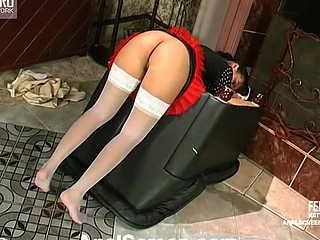 Tasty French maid having a duster poked concerning her itchy arsehole for a start