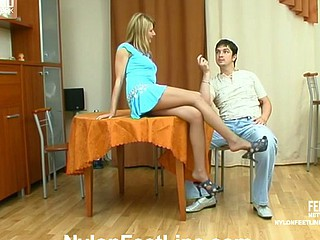 Alice&Adam nylon footfuck action