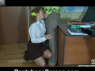 Wicked schoolgirl in thin control top hose and high heels tempts her tutor
