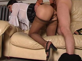 Horny chick savoring fervent muff massage with her silky hose on