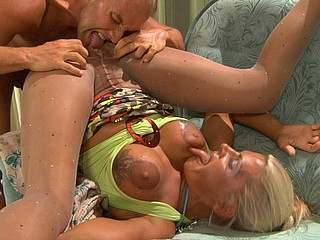 Angry gal gets her beaver licked and dicked thru her hawt crotchless tights