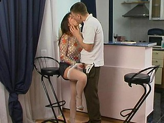 Randy honey alongside lacy white nylons ready to jump greater than pulsating penis non-stop