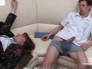 Horny sissy in a womanlike office suit getting unbending bonus from his co-worker