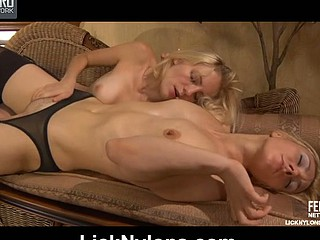 Betty&Judith nylon lesbian babes all over sham