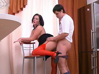 Cautious chick in red nylons taking the not positively on all sides from will not hear of sexy sex desire