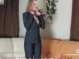 Raunchy business woman playing with her tan pantyhose previous to taking 'em on