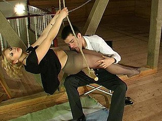 Gal in lacy hose and her lover begin from sexy blowjob foreplay in the attic