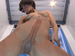 Kinky honey takes a shower enjoying the feel of her thin wet thru hose