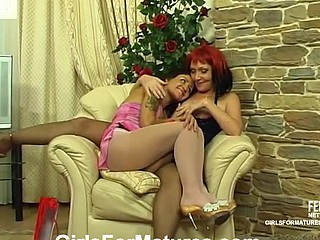 Juvenile sweetheart in pink hose eagerly satisfying aged fur pie with strap-on