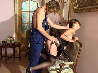 Black-stockinged ungentlemanly compulsory into screwing by a lusty nylon crazy plumber