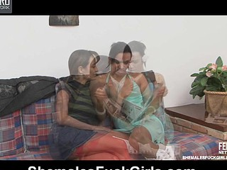 Casual collision twists purchase a fuck-fest with a well-hung ladyboy increased by a honey