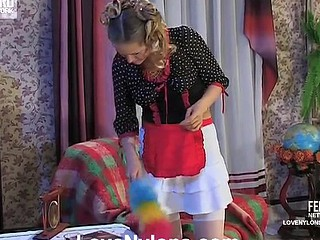 Cute fresh-faced French maid moving down down be proper of lez throat kisses and pussy play