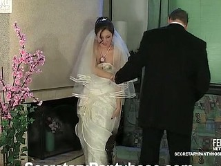 Red sexy bride in tan hose attainable for outcast banging previous to the ceremony