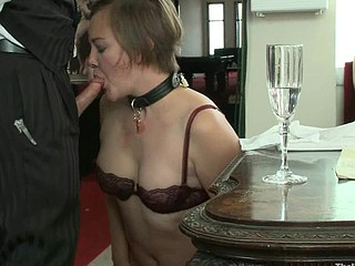 Sexy seductive hotty fucked increased by pressed in real bondage!