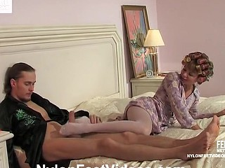 Freaky housewife in white hose seducing will not hear of hubby nearby will not hear of sexy hands