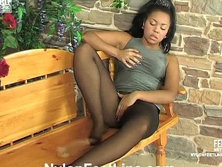 Pantyhosed gal prevalent yummy legs taking out the brush beloved fake penis for soaked games