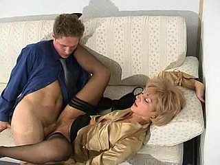 Unsightly aged penman seducing her boss in a trice into wild wet crack-ramming