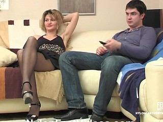 Christie&Adam violent nylon footsex