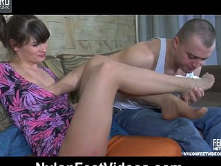 Gloria&Nicholas nasty nylon footsex