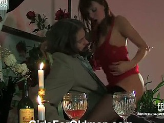 Sexy gal in red evening gown fucked after candlelit supper with older lover