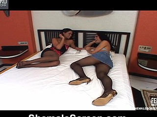 Nasty shemale revealing her dual nature in doggystyle frenzy with a cutie