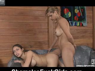 Tayna&Fernanda ladyboy fucks lady simulate