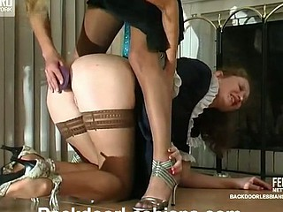 Lesbo French maid eagerly dropping on her knees begging for booty-ramming