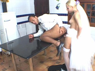 Naughty t-girl bride and groom burning with desire for wild fucking on floor