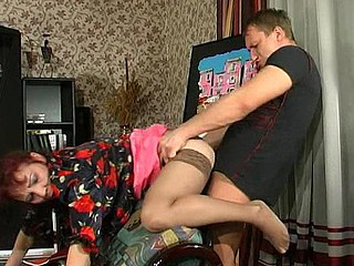 Salacious mother i'd like to fuck giving younger fellow the unknown thrill of fucking and sucking