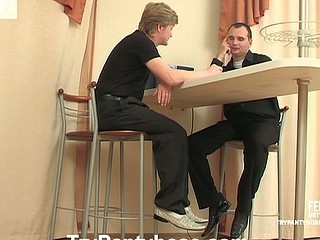 Well-hung boys in control top pantyhose playing numbers game on the floor