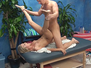 Golden-Haired spread out is fondled and pounded by striking masseur