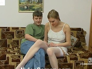 Marvelous honey in fancy white pantyhose getting to muff-splitting action