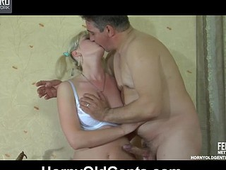 Old gent and a cute lass exchange oral job in advance of going for wild screwing