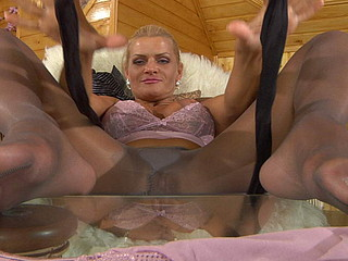 Masturbating auriferous settles be useful to darker crotchless hose smeared in her juice