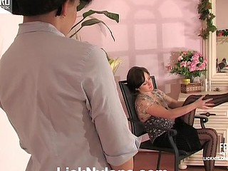 Lez mistress in black stripy nylons luring a housekeeper to French enjoy