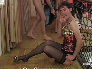 Concupiscent sissy peeling off his skimpy black petticoat for wild gazoo-to-mouth frenzy
