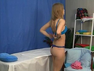 Youngs golden-haired gets in massage pound