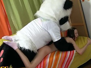 `Panda bear's got so many talents! Did u know that this chab's a good painter? This Guy and his breasty teenage friend were having fun drawing pictutes, but eventually the horny bear wrote `Panda want to fuck`. The nasty hotty took the hint and went for real sex play with her beloved toy. Panda's massive sex tool dong was ready for a unfathomable penetration, and the couple plunged into fun fucking right on the floor. Watch the insatiable legal age teenager sweetheart being screwed in so many poses by a cute fluffy panda bear! That fun ...`