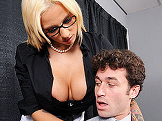 Lylith is giving a presentation about appropriate office conduct in relation to sexual harassment to a group of employees. One of the employees, James, is not taking her seriously and mocks the entire process. Lylith has a intimate word with James and explains to him that that playgirl solely took her job to find slutty guys. Then this playgirl gives him a intimate lesson in sexual conduct.