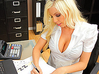 Britney stays a little late after work to cook the books and shred some secret documents. Bill, the IRS stud, walks in just as Britney is disposing of some important papers. That Chick feigns ignorance and tries to distract him from continuing his investigation. No Thing distracts the Taxman more excellent than a precious large pair of titties.