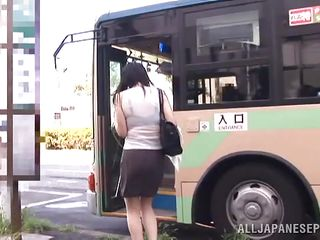 It was a hot day and the busty Nippon milf hurried to catch the bus. This babe was perspired and through that transparent blouse her luscious form were clear. As she waited to reach her destination the guy next to her touched her boobs with precaution and seeing that she doesn't opposed he became rude and groped her roughly