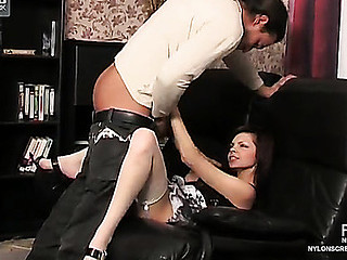 Upskirt teaser clad in white plain top nylons getting licked and screwed