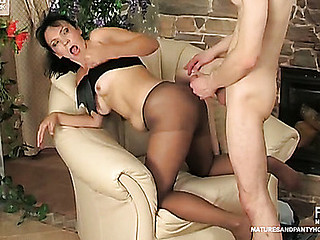 Salacious older chick in smooth hose having doggystyle entertainment