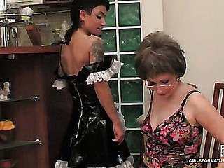 Youthful French maid swallows and fucks a fake jock of a dong-armed older